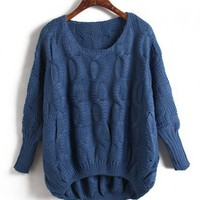Vintage Dark Blue High Low Knit Jumpers with Batwing Sleeves