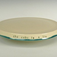 The Cake Is A Lie Cake Stand by notengomiedo on Etsy