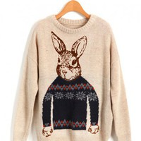 Retro Loose Knitted Jumpers in Beige with Rabbit Print