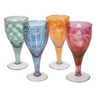 Cut Glass Wine Glasses Set