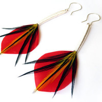 JapaneseInspired Feather Earrings in Red and by Stilltreejewellery