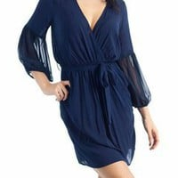 pocketed tie-waist dress $34.00 in BURG CHAR NAVY - Casual | GoJane.com