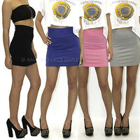 High Waist Cotton Mini Skirt Sexy Casual Waisted Pencil Fitted Stretch Comfy