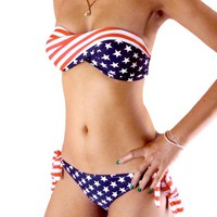 Womens Sexy 2 pcs Padded Bikini Swimwear Twisted Tube American Flag Size S M L