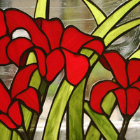 Stained Glass Window Panel Red Lilies Custom Made by GaleazGlass