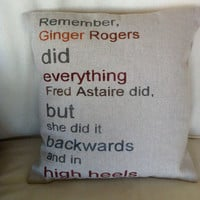 Ginger Rogers & Fred Astaire Pillow-  Home Kids Room Decor