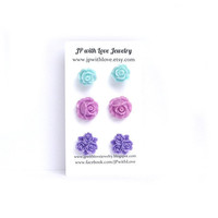 Stud earrings, set of 3