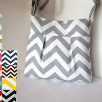 the Pleated bag Small .  Chevron . Design Your Own. or Gray and White . crossbody .  purse . small tote . adjustable strap .