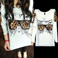 Glasses Kitten Ponder Leopard Grain T-shirt Blouse Tops Chic Design Wear