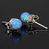 4mm Australian Sky Blue Opal Ball Stud Post Earrings 14K White or Yellow Gold