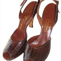 Andrew Geller Brown Vintage 40s Alligator Shoes