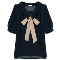 Feminine Bowknot Navy Blue Shirt(Coming Soon) [NCSHZ0173] - &amp;#36;48.99 :