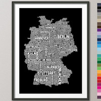 Typography Text Map of Germany Map, Art Print 18x24 inch (922) -colour options