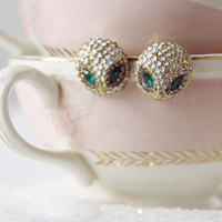 Golden Owl Stud Earrings, Sweet Affordable Jewelry