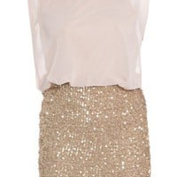 Sequin Gold Chiffon Dress