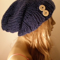 Dark Deep Ocean Blue Slouchy Hand Knit Oversized Ribbed Woodsy Beanie Hat With Recycled Buttons