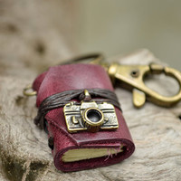 Miniature Book keychain Camera &amp; Purple grapes color