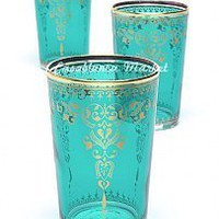 Moroccan Tea Glasses Morjana Aquamarine (Set of 6)