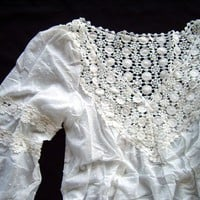Anthropologie Lace &amp; Whimsy Detailed Gauze Cotton White Blouse Top 4-C39 M