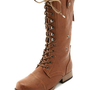 Distressed Zip-Back Combat Boot: Charlotte Russe