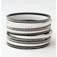 Silver and Black Studded Bangles - Accessories | Sugar and Sequins