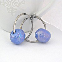 Blue ceramic antique silver hook earrings by Lbtoyos on Etsy