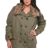 Army Green Twill with Fur Trim Jacket | Jackets & Outerwear