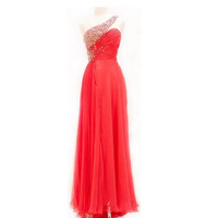 A-line One-shoulder Sleeveless Floor-length Chiffon Bridesmaid Dress With Rhinestone Beading Free Shipping