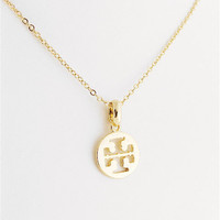 Tory Burch Style Gold Plated Logo Pendant Necklace - SALE 15%