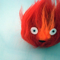 Howl's Moving Castle Calcifer Fur Ooak. Ghibli. 12 cm