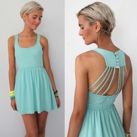MINT STRAPPY CAGED CUT OUT OPEN BACK BACKLESS DRESS S M L 6 8 10 12