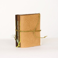 Set of 3 recycled leather mini journal cahier chapbook diary notebook blank pages eco paper christmas - beige brown camel olive green toffi