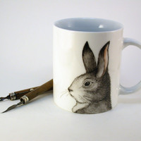 rabbit on porcelain mug, handpainted