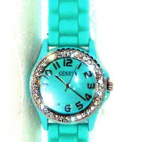 Aqua Rubber Strap Crystal Watch