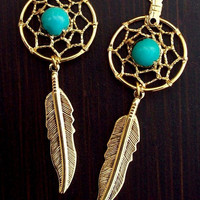 "3"" Long Gold & Turquoise Dream catcher earrings"
