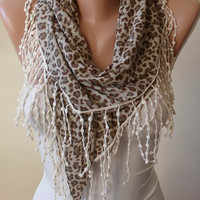 Gift Scarf -  Light Brown and Gray Leopard Scarf with Beige Trim Edge - Combed Cotton Fabric