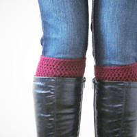 Crochet Boot Cuffs Socks Boot Toppers in Wine Oxblood