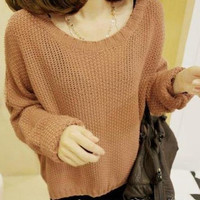 Stylish Womens Scoop Neck Batwing Long Sleeve Loose Knitting Sweater Casual Coat