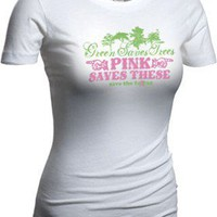 """Green Saves Trees, Pink Saves These"" Vintage-Style Tee - Save the Ta-tas T-Shirts - Save the Ta-tas Bumper Stickers & Accessories"