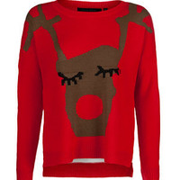 Red Girly Deer Christmas Jumper