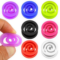 PAIR Spiral Silicone Tunnels Gauges Plugs 2g,0g,00g,1/2,9/16,5/8,3/4,7/8,1""
