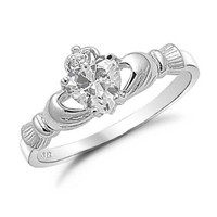 Amazon.com: Sterling Silver Heart Shaped CZ Claddagh Ring Sizes 3 to 9: Jewelry