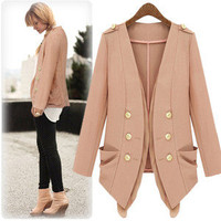 Autumn Women double-breasted pockets Slim Jacket #0930