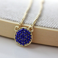 Round pendant navy blue - small delicate necklace on gold chain