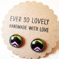 OOAK chevron striped earrings in lime green black and pink - handmade nickel free post earrings