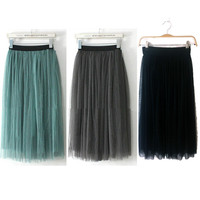 Fashion Women Ladies Elastic Pleated Waistband Mesh Long Skirt Black Grey