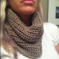 COWL Scarf - handknit - Taupe