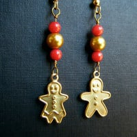 Gingerbread Man Christmas Earrings Holiday Red and Gold Jewelry
