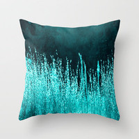 Grasses Aqua Throw Pillow by Veronica Ventress | Society6