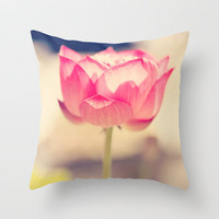 Pink Water Lotus Throw Pillow by Erin Johnson | Society6